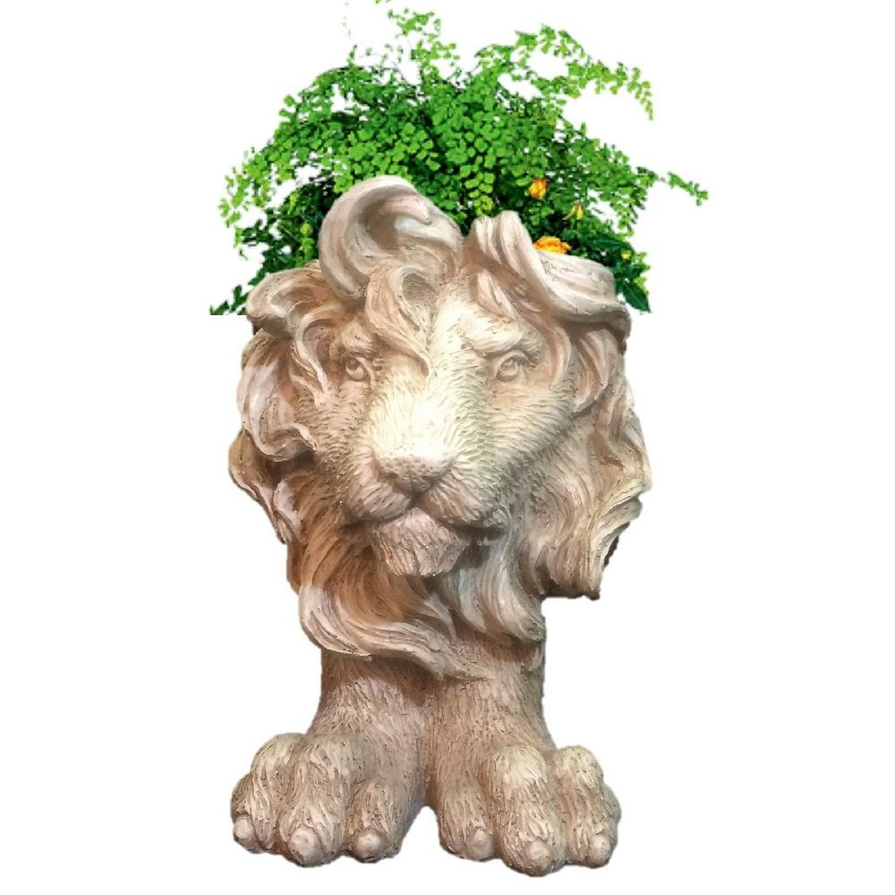 Homestyles 18 in. Antique White Lion Muggly Mascot Animal Statue Planter Holds 8 in. Pot