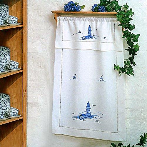 Con punto de vainica blanco sobre toalla LEUCHTTURM azules, hilo, manual de instrucciones y aguja 70 x 110 cm con paso del túnel: Amazon.es: Juguetes y ...