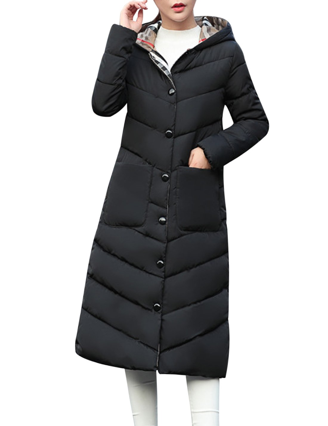 Tanming Women's Winter Warm Cotton Padded Long Coat Outerwear (Large, Black)