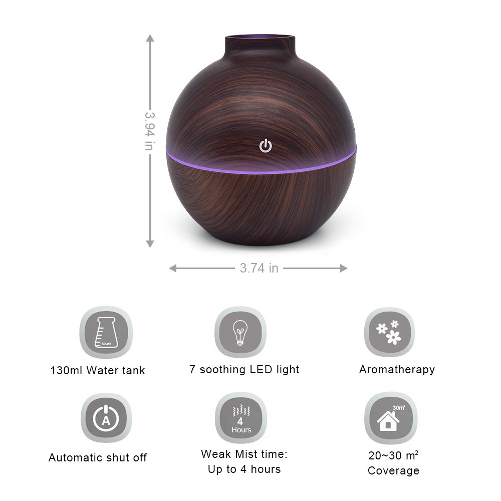 USB Power-Supplied Humidifier Aroma Essential Oil Diffuser, 130ml Ultrasonic Cool Mist Humidifier with LED Night Light USB Humidifier For Office Home Bedroom Living Room Study Yoga Spa (Dark Wood) by KBAYBO (Image #6)