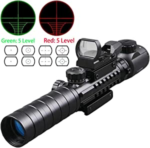 Luger Tactical 3-9X32EG Optical Dual Red Green Illuminated Crosshair Range Finder Rifle Scope with Red Green Reflex 4 Reticles Sight