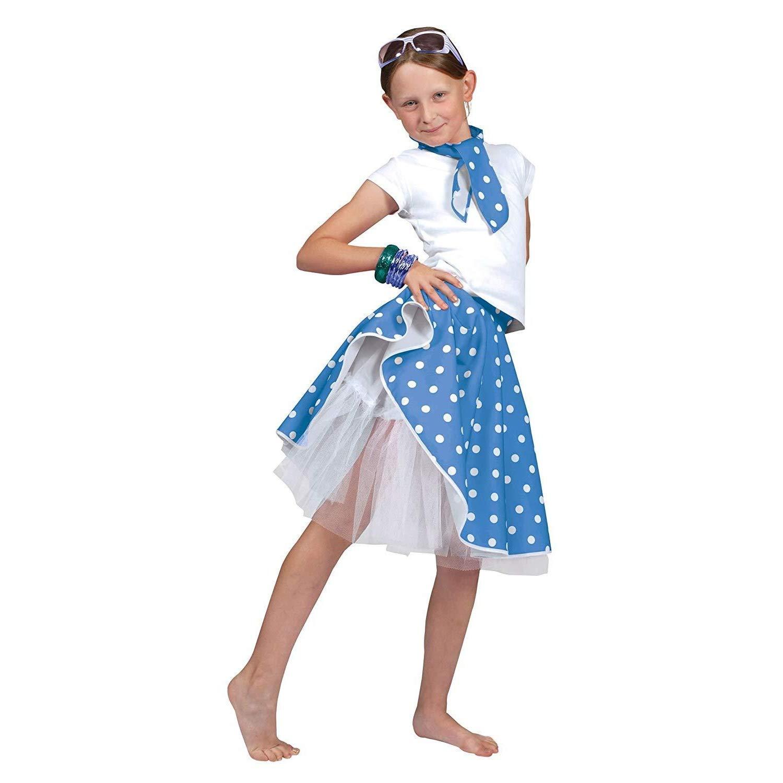 Kids Black Rock N Roll Skirt /& Scarf Fancy Dress Costume Dance 1950s Polka Dot