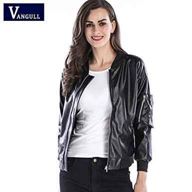 a1c81772e51 Image Unavailable. Image not available for. Color  Gorgeous Spring Autumn  Leather Jacket 2018 Women Casual Long Sleeve Zipper Slim Coat Fashion ...
