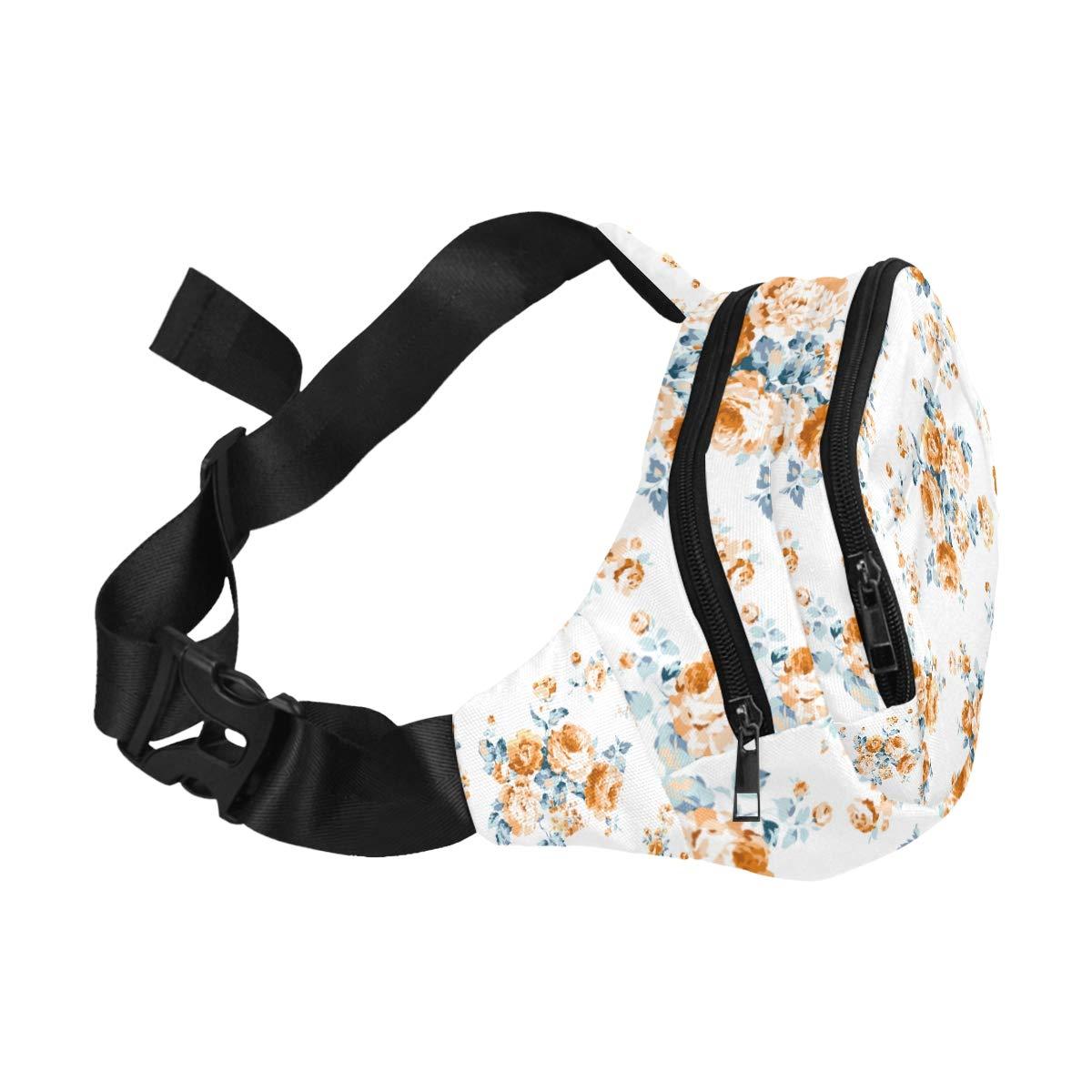 Blooming English Rose Watercolor Fenny Packs Waist Bags Adjustable Belt Waterproof Nylon Travel Running Sport Vacation Party For Men Women Boys Girls Kids