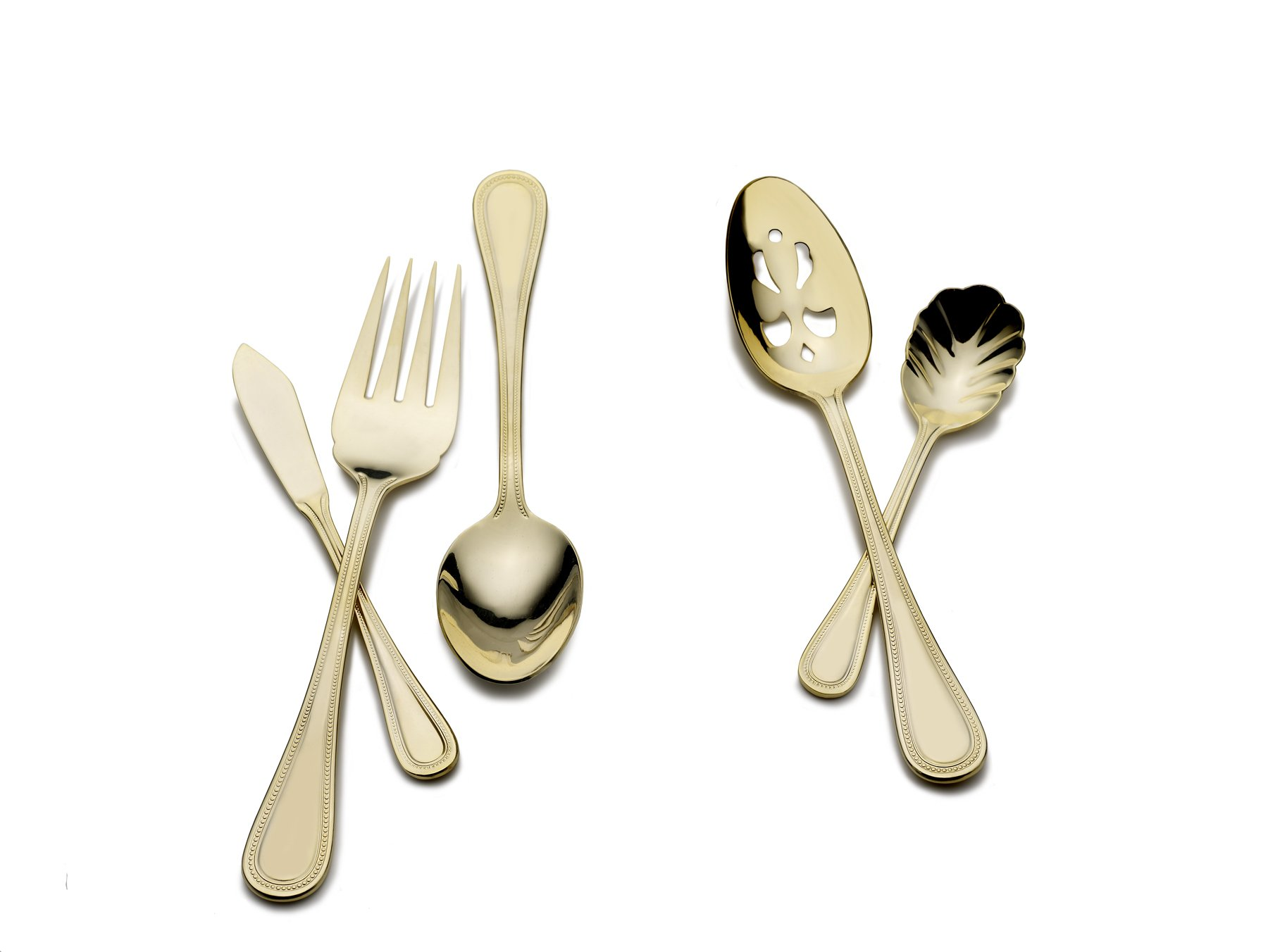 Wallace 5085029 Continental Bead Gold-Plated 65-Piece Stainless Steel Flatware Set with Hostess Set, Service for 8