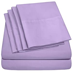 Sweet Home Collection Sheets 6 Piece 1500 Thread Count Deep Pocket Hypoallergenic Brushed Microfiber Soft and Comfortable Bedding Set, Queen, Lavender