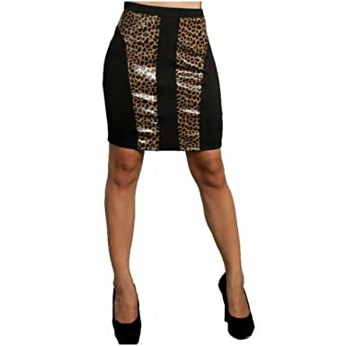 40a07ac62852 Sexy Skirt Wild Faux Leather Animal Print Panel Stretch Women (S, Leopard)