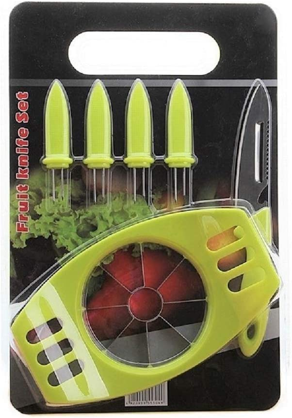 Apple Slicer and Peeler 7 in 1/ Corer/ Cutter/ 7PCs Set With multi-functional Knife, Fruit Skewers and Cutting Board/Sharp stainless steel blades