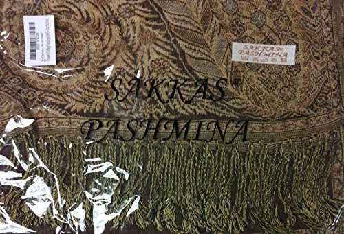 "70 x 28"" Big Paisley Jacquard Double Layer Woven Pashmina Shawl / Wrap / Stole - Dark Chocolate"""