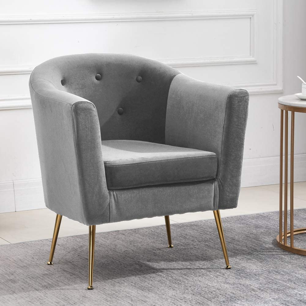 QIHANG-UK Modern Velvet Tub Chair with Metal Legs, Upholstered Oyster Shell  Occasional Armchair for Bedroom Office Lounge Reception Cafe, Living Room