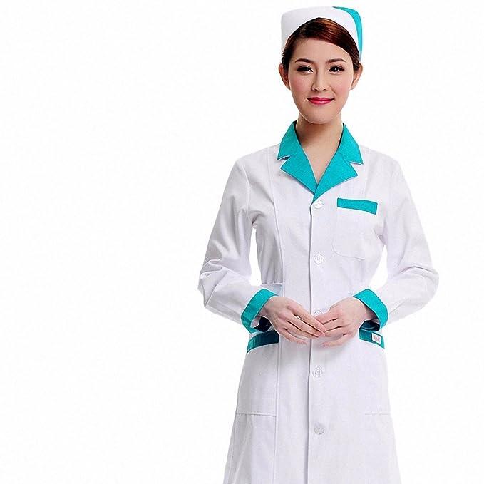 Xuanku Traje De Enfermera Collar De Invierno De Manga Larga Vestido De Bata Blanca Belleza Verde Práctica Oral Farmacia, XXL, White Collar Collar Azul: ...