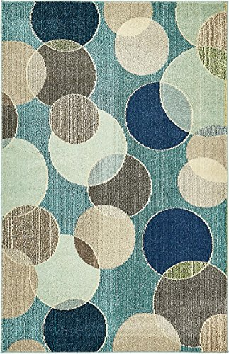 Unique Loom Chromatic Collection Modern Bokeh Kids Blue Area Rug (4' 0 x 6' 0)
