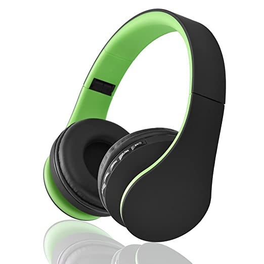 EONSMN Auriculares Plegables Inalambricos Bluetooth con soporte para Tarjeta MicroSD, Radio FM, Microfono para Manos Libres (Green)
