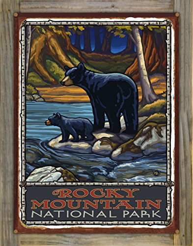 Rocky Mountain National Park Bears In Stream Rustic Metal Print on Reclaimed Barn Wood by Paul A. Lanquist (18