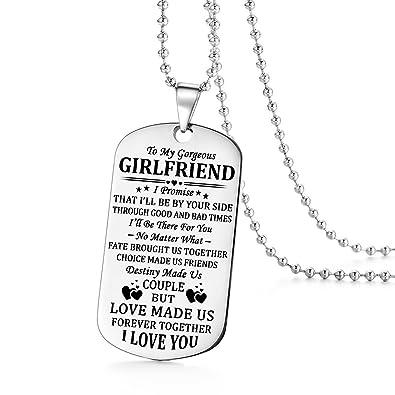Amazoncom Stashix To My Gorgeous Girlfriend I Love You Dog Tag