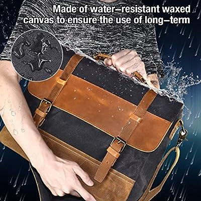 ... NEWHEY Mens Messenger Bag Waterproof Canvas Leather Computer Laptop Bag  15.6 Inch Briefcase Case Vintage Retro ... de884a5367feb