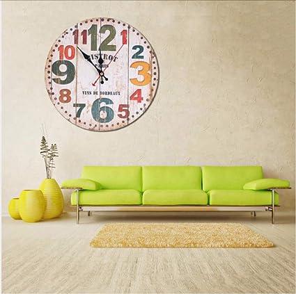 Asbjxny Reloj De Pared De Madera Antiguo Silencioso Sin ...
