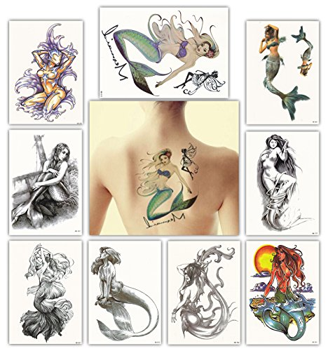 DevilFace Large Temporary tattoos for Men Women, 9 Sheets Fake Tattoo, Mermaid