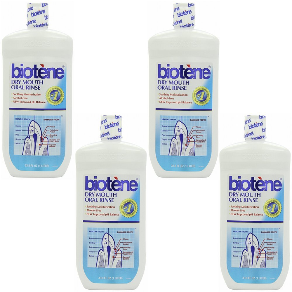 4 Pack Wholesale Lot Biotene Oral Rinse Mouthwash for Dry Mouth Symptoms 33.8 oz