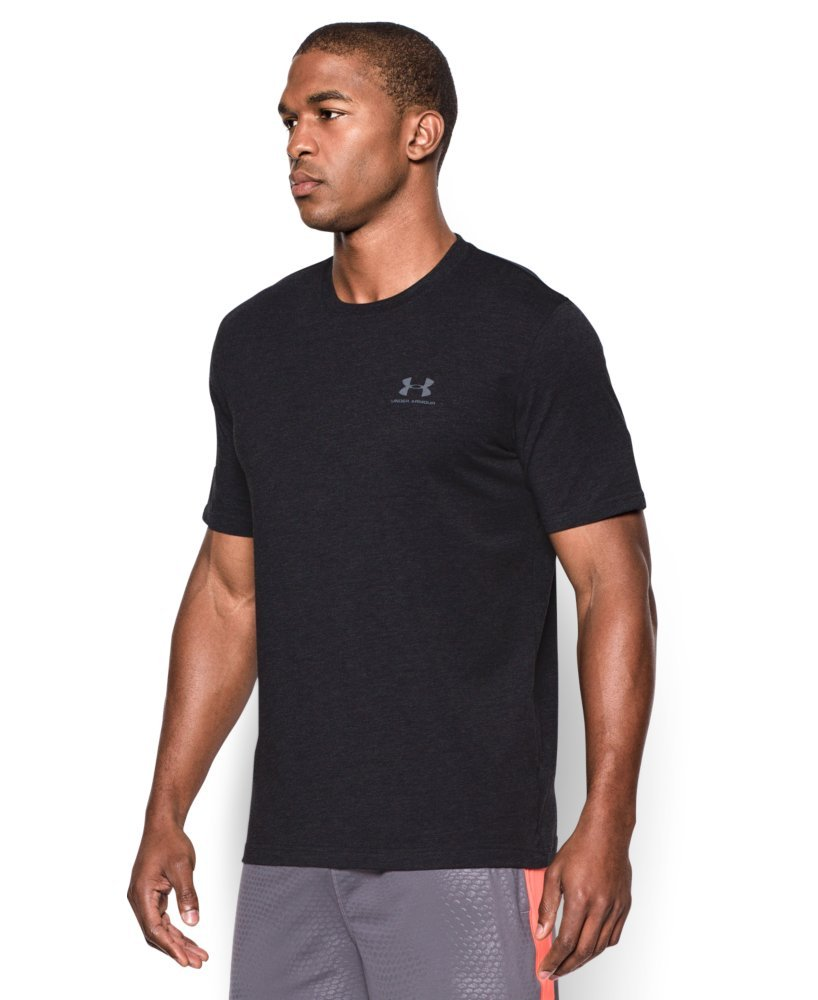 Under Armour Men's Charged Cotton Left Chest Lockup T-Shirt, Black /Steel, XXX-Large by Under Armour (Image #3)