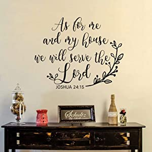 """BATTOO As for Me and My House We Will Serve The Lord Bible Verse Wall Decal- Joshua 24:15 Scripture Wall Decal- Christian Home Wall Decor(Black, 22"""" WX18 H)"""