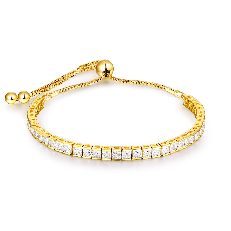 NaNa Tennis Bracelet Cubic Zirconia 18K White Gold Rose Gold Plated Square Zircon Adjustable Bracelet Gold