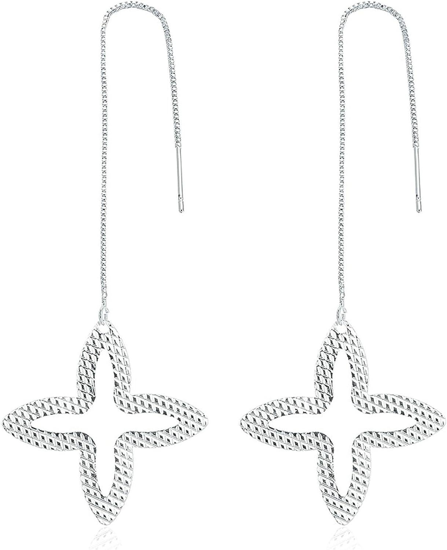 Epinki Acero Inoxidable Mujer Pendientes Plata Estrella Pendientes con Circonita