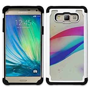 Bright-Giant ( Color Swirl Art Graphic White Pattern) Hybrid Heavy Duty Armor Shockproof Silicone Cover Rugged case for SAMSUNG Galaxy A7 / SM-A700 (2015 Version)