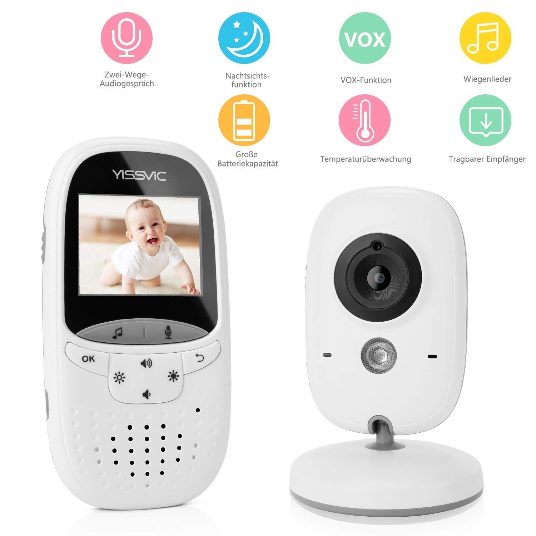 Yissvic Babyphone 2.4GHz mit Kamera Wireless Video Baby Monitor Nachtsicht Gegensprechfunktion Temperatursensor 2.0 Zoll LCD Earthly Paradise