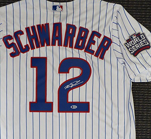 CHICAGO CUBS KYLE SCHWARBER AUTOGRAPHED WHITE MAJESTIC COOL BASE JERSEY WITH 2016 WORLD SERIES PATCH SIZE L BECKETT BAS STOCK #129098