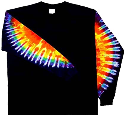 Amazon Com Tie Dyed Shop Rainbow Sleeves On Black Tie Dye T Shirt