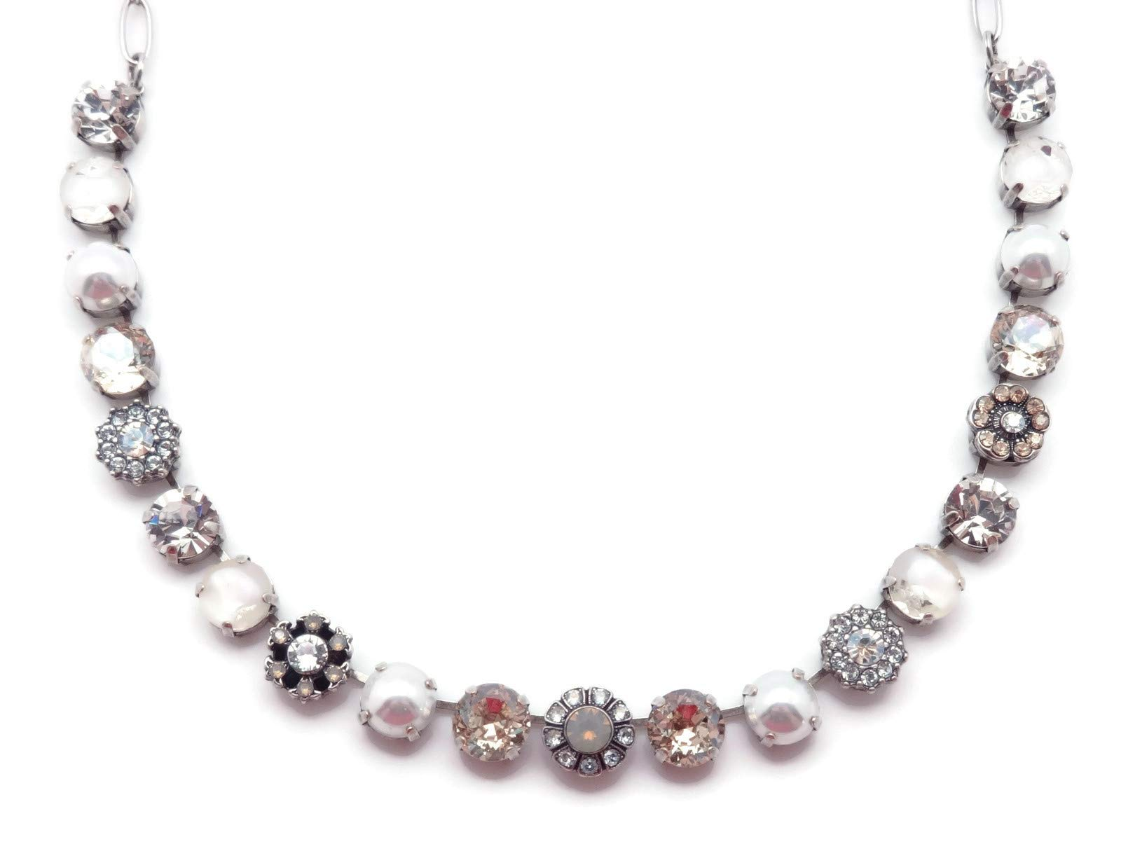 Mariana Seashell Swarovski Crystal Silvertone Necklace Clear & Light Silk Mix Mosaic Monroe M393612 by Mariana