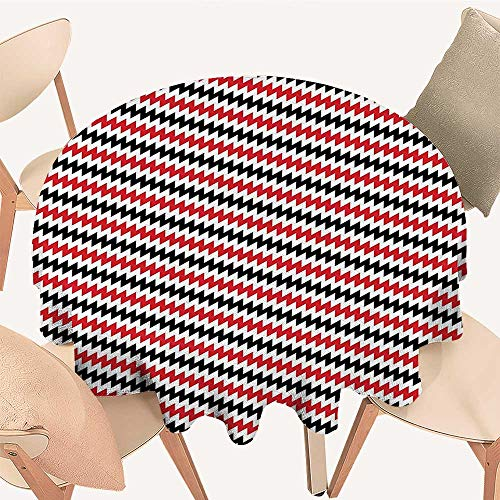 Dragonhome Picnic Circle Table Cloths Black Hypnotising Vintage Zigzag Chevron Wave Seem Retro Border Like Image Ruby and for Family Dinners or Gatherings, 55 INCH ()