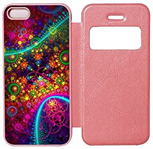 Abstract Colorful Fractal Custom Pink Leather Case for iPhone 5S iPhone 5 At Colored Cases Store