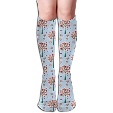 19.68 Inch Compression Socks Floral Tree Flower High Boots ...