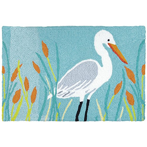 "Jellybean Egret Coastal Indoor/Outdoor Machine Washable 21"" x 33"" Accent Rug"