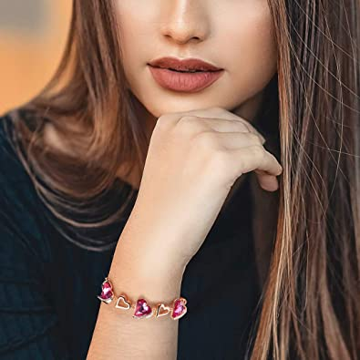 Bracelet coeur infini plaqué or Rose