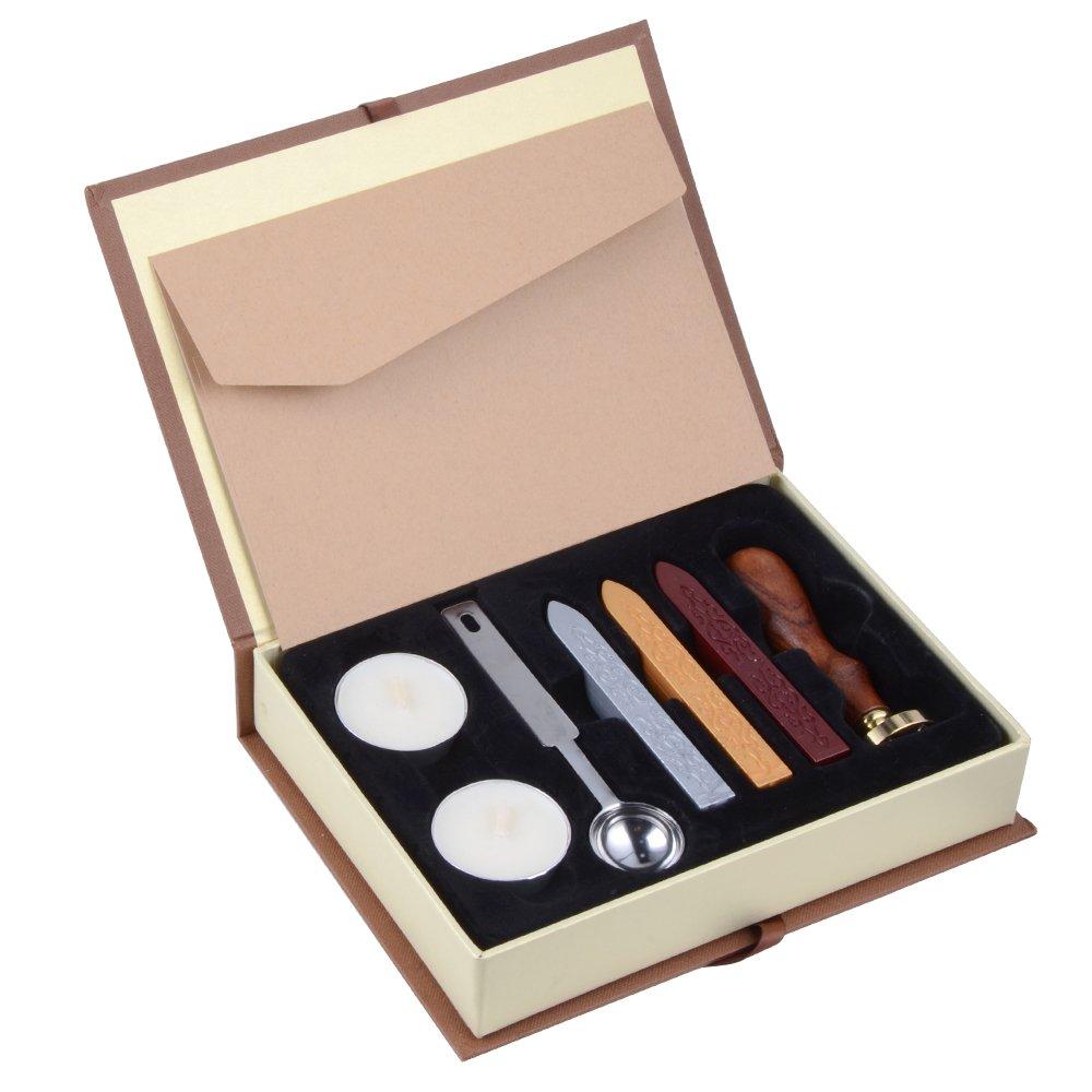 Sigillo di cera timbro kit cera set di tenuta retrò , in confezione regalo Best Wishes easyU