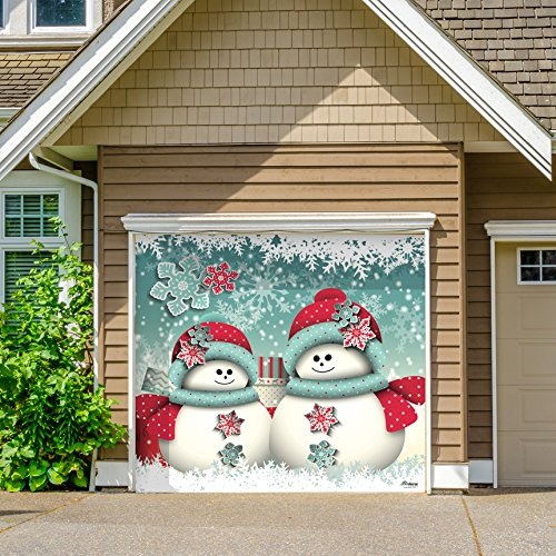 Outdoor Christmas Holiday Garage Door Banner Cover Mural Décoration - Christmas Snowmen and Gifts Holiday Garage Door Banner Décor Sign 8'x9' by Victory Corps