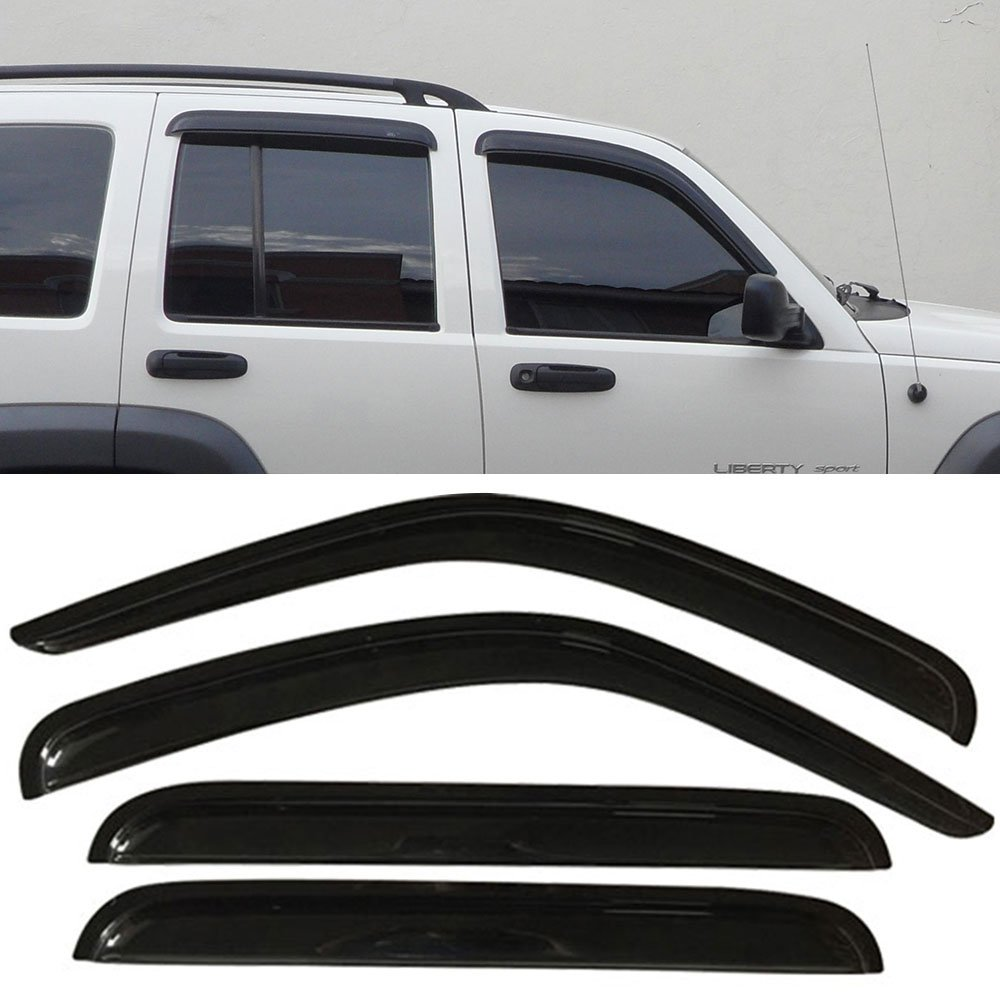 Window Visor Fits 2002 2007 Jeep Liberty Slim Style Acrylic Smoke Tinted Semi Transparent Sun Rain Shade Guard Wind Vent Air Deflector By Ikon