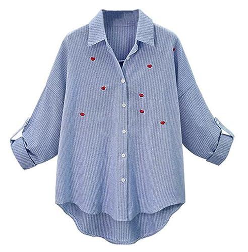 BESTHOO Mujer Bordada A Rayas Camisa Blusa Mangas Largas Casual Elegante Oficina Blouses T Shirt