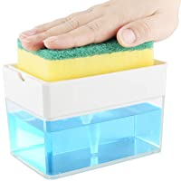 Soap Dispenser for Kitchen + Sponge Holder 2-in-1 - Innovative Design - Premium...