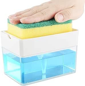 Albayrak Soap Dispenser for Kitchen + Sponge Holder - U.S. Design Patent - Premium Quality Dish Soap Dispenser - Counter Top Sink Dispenser - Instant Refill, Durable, Rustproof