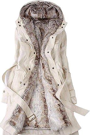 60ba0f2b8b BodiLove Women s Belted Down Puffer Jacket Faux Fur Trim Hood at Amazon  Women s Coats Shop