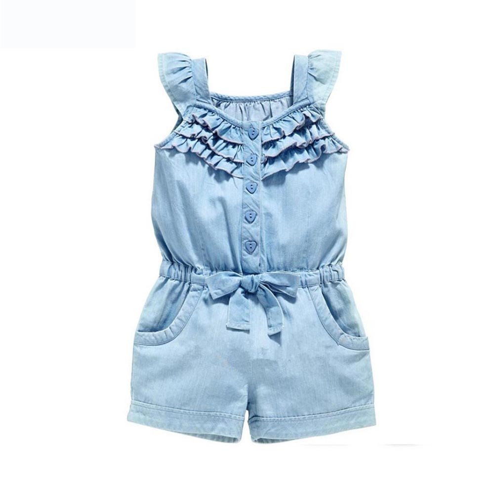 Dsood Baby Outfits,Baby Girl Clothes Rompers Denim Blue Cotton Washed Jeans Sleeveless Bow Jumpsuit,Girls' Dresses, 2019,Blue