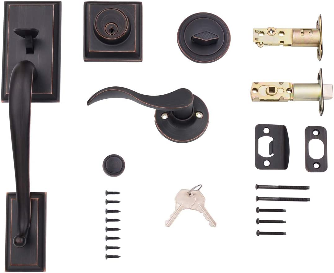 Amazonbasics Modern Exterior Door Handle With Right Hand Wave Door Lever And Deadbolt Lock Set Oil Rubbed Bronze Amazon Com