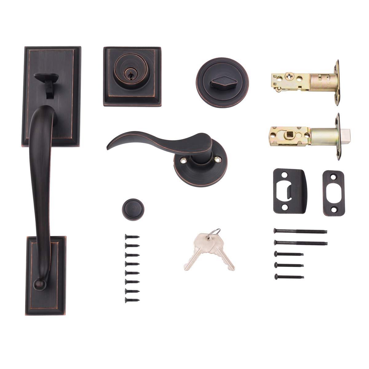 AmazonBasics Modern Door Handle and Deadbolt Lock Set, Right-Hand Wave Door Lever, Oil Rubbed Bronze