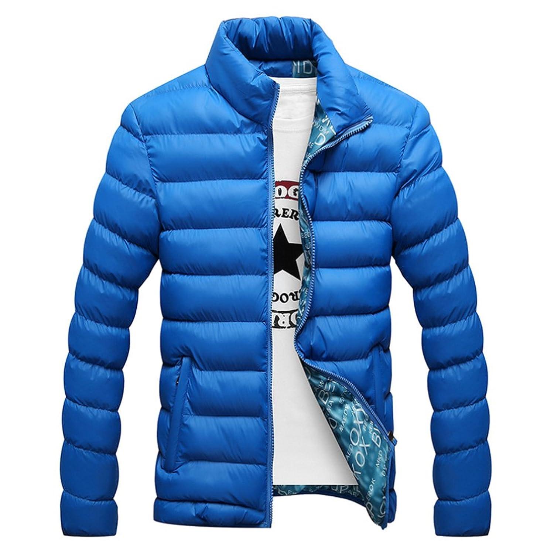 Man Down Coat Slim Warm Cotton Coat colorful blue