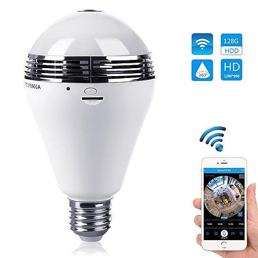 Bombilla y cámara de vigilancia wifi, inalámbrica, 360°, cámara IP de seguridad
