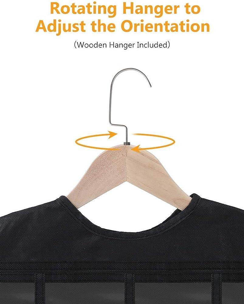 Transparent PVC pour ranger les boucles doreilles 86 Poches avec cintre en bois colliers accessoires Fnova Organisateur de Bijoux Suspendu Double Face